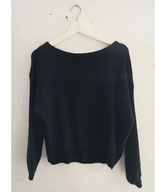 Sweater knitted wide neck, Black