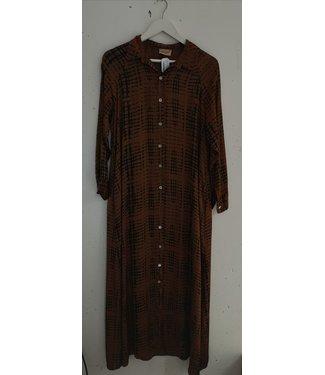 Dress maxi button ao print, Brown black