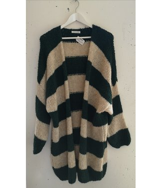 Cardigan knitted stripes, Green beige