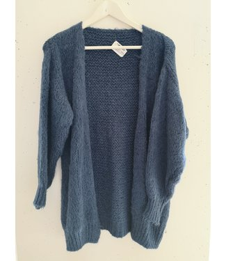 Cardigan knitted midi, Jeans Blue