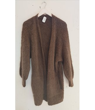 Cardigan knitted side pockets long, Brown