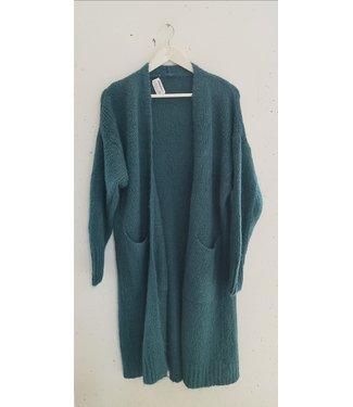 Cardigan knitted pockets long, Petrol