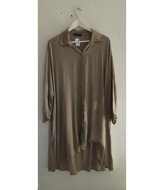 Blouse dress silk, Taupe
