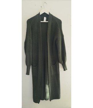 Cardigan maxi bell sleeve, Army green