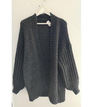 Cardigan heavy knitted midi, Dark grey