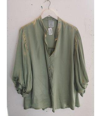 Blouse bell sleeve silk, Green