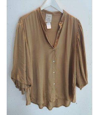 Blouse bell sleeve silk, Camel