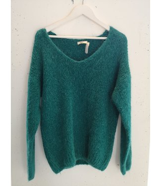 Sweater knitted V, Bright petrol