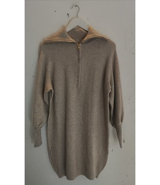 Sweater dress zipper, Beige