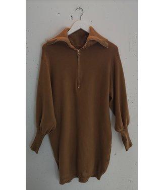 Sweater dress zipper, Brown
