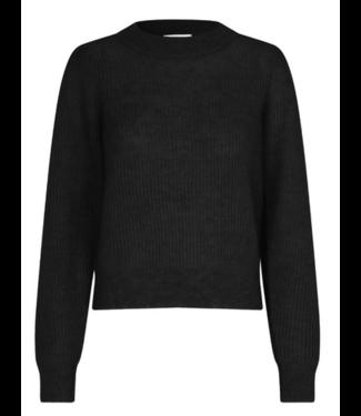 Sweater Brooky knit puff O-neck, Black