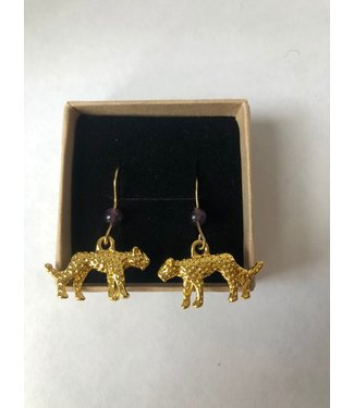 Earring Leopard, Gold plated