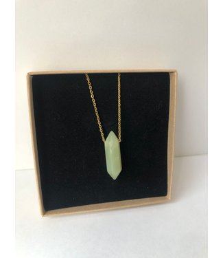 Necklace Jade, Gold plated 45cm