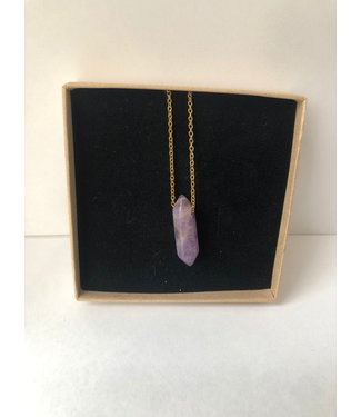 Necklace Amethyst, Gold plated 45cm