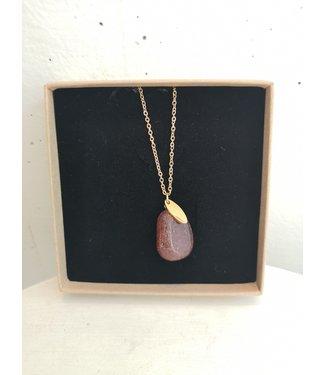 Neklace Aventurine, Gold plated 45cm