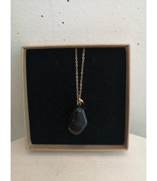 Necklace Black Tourmaline round, Gold plated 45cm