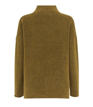 Second female Sweater Brook knit T-neck, Dried tobacco