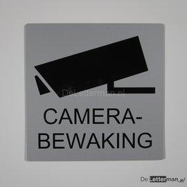 Camerabewaking bord 25 x 25 cm zilver zwart