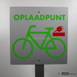 Oplaadpunt electrische fiets bord op paal