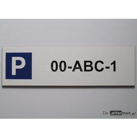Parkeerbord met Kenteken Wit