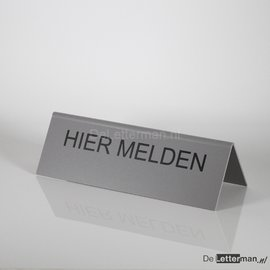 Huismerk HIER MELDEN tekstbordje tafelmodel 10x30 cm