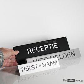 Huismerk HIER MELDEN tekstbordje tafelmodel 5x30 cm