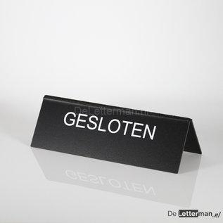 Tekstbordje GESLOTEN tafelmodel 10x30 cm