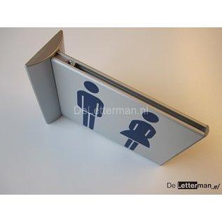 Toiletbordje Dames Heren haaks op de muur klein Toiletgroep
