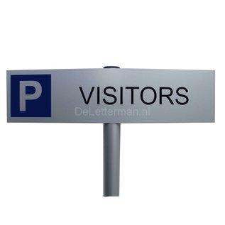 Parkeerbord Visitors op paal 150