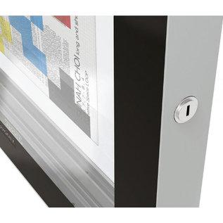 Vitrine Edge 160x142cm en 8 cm dik met 2 gasveren  zwart kader