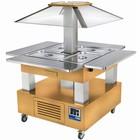 Diamond Wyspa chłodnicza bar sałatkowy | 4X GN 1/1(H)150 | Jasne Drewno | +2° +10° | 500W | 1435x1435x(H)1540mm