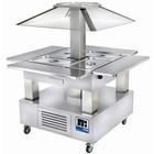 Diamond Wyspa chłodnicza bar sałatkowy | 4X GN 1/1(H)150 | Białe Drewno | +2° +10° | 500W | 1435x1435x(H)1540mm
