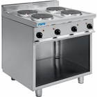 Saro Electric cooker with an open cabinet E7 / CUET4BA | 4 burner 10400W | 400V 800x700x (H) 850mm