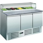 Saro Pizza table with glass display - 3 doors | + 2 ° to + 8 ° C | 8x GN 1/6