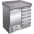 Saro Stacja do pizzy - 1 drzwi, 6 szuflad | +2° do +8°C | granitowy blat