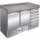 Saro Pizza station - 2 deuren, 6 laden | + 2 ° tot + 8 ° C | granieten aanrecht