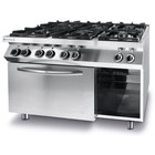 Hendi 6-ring gas cooker with a GN1 / 1 electric convection oven | 28.5 + 3kW | 1200x700x (H) 900mm