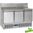 Diamond Stół chłodniczy do pizzy | 3 pary drzwi + komora na pojemniki GN | 380L | +2° +8°/+4° +10° | 340 W | 1365x700x(H)850/1100mm