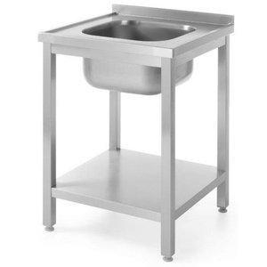 Hendi Stół z jednym zlewem z półką | skręcany | 600x600x(H)850mm