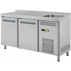 RedFox Stół chłodniczy dwudrzwiowy ze zlewem | 0°C/+8°C | 290L | 1350x700x(H)850mm