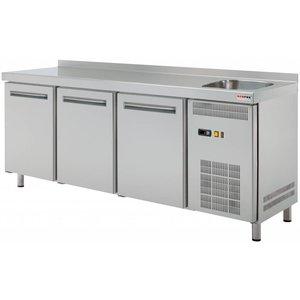 RedFox Stół chłodniczy trzydrzwiowy ze zlewem   0°C/+8°C   452L   1800x700x(H)850mm
