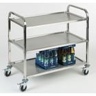 APS Wózek kelnerski trzypółkowy ze stali nierdzewnej | 960x500x940mm