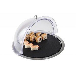 APS Witrynka roll-top okrągła z tacą z kamienia łupkowego oraz z tacą nierdzewną | śr. 380x(H)240mm