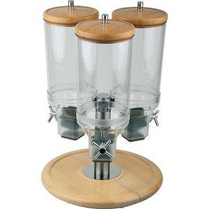 APS Obrotowy dyspenser do płatków potrójny na podstawie drewnianej | 3x4,5L | śr. 380x(H)540mm