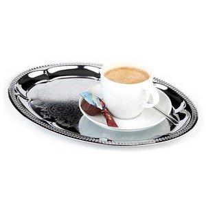 APS Taca owalna ze stali chromowanej do serwowania kawy | 300x220mm