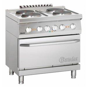 Bartscher Kuchnia elektryczna 4 płytowa z piekarnikiem el. GN 2/1 | 15800W