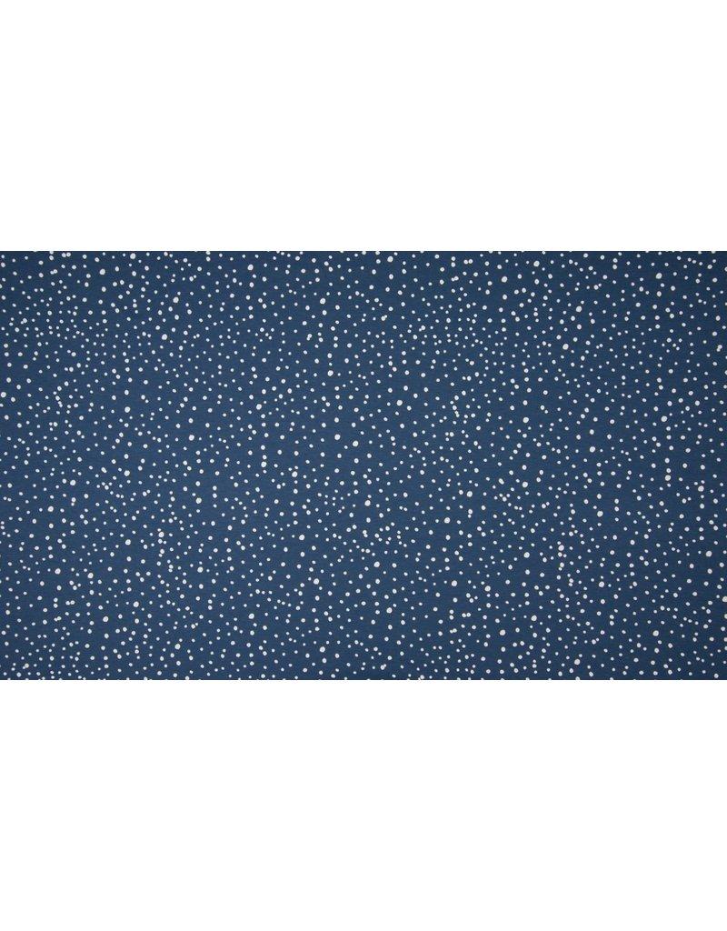 Baumwolljersey Motiv Dots navy blau