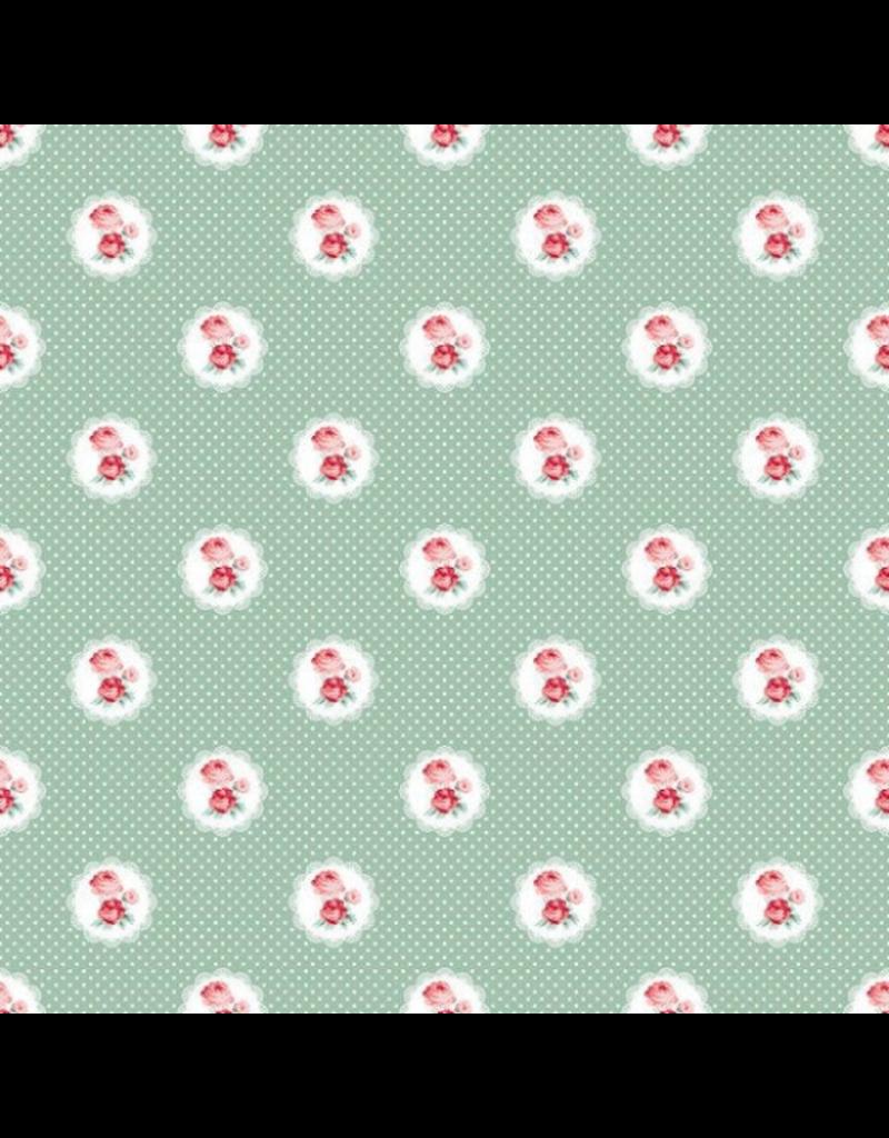 Baumwolle mint Rosen Ornamente