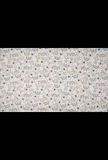 Baumwolle Motiv ecru Blumen blau braun creme