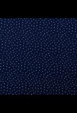 Musselin navy weiße Punkte Baumwolle
